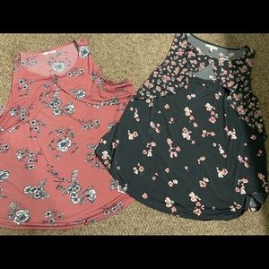 2 Maurice's floral sleeveless tops gray pink XXL